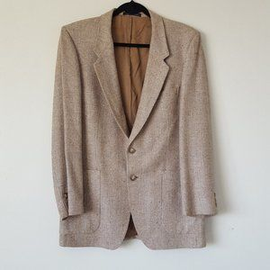 YSL tan tweed wool blend blazer sport coat 42